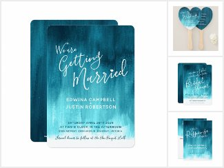 Dark teal modern abstract water art wedding and events