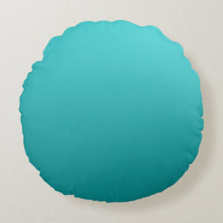 Dark Teal Ombre Round Pillow