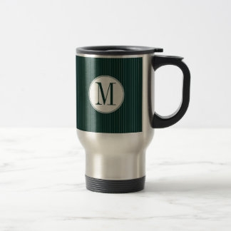 Dark Teal Pinstripe Single Monogram Mug