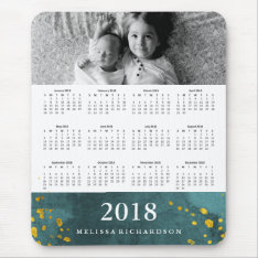 Dark Teal Watercolor And Gold 2018 Calendar Photo Mouse Pad at Zazzle