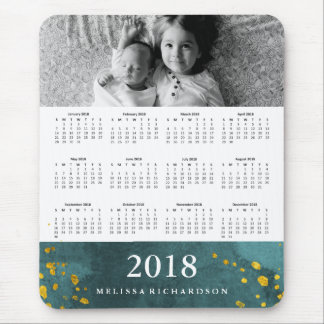 Dark Teal Watercolor and Gold 2018 Calendar Photo Mouse Pad