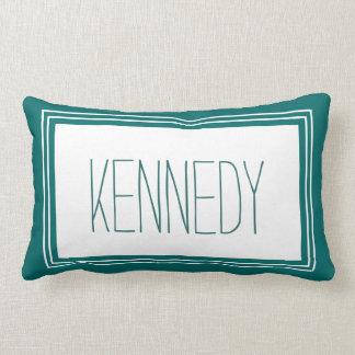 Dark Teal White Custom Monogram Name Keepsake Lumbar Pillow