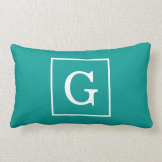 Dark Teal White Framed Initial Monogram Lumbar Pillow