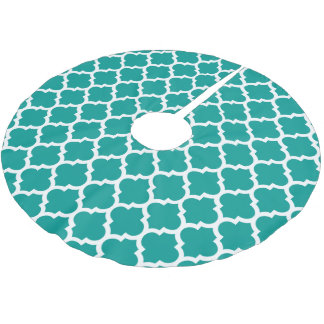 Dark Teal White Moroccan Quatrefoil Pattern #5 Brushed Polyester Tree Skirt