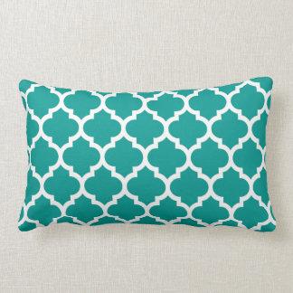 Dark Teal White Moroccan Quatrefoil Pattern #5 Lumbar Pillow