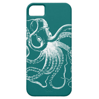 Dark Teal White Vintage Octopus Illustration iPhone 5 Cover