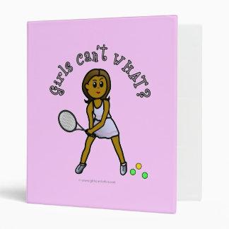 Dark Tennis Player Girl 3 Ring Binder