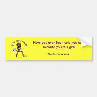Dark Tennis Player Girl Car Bumper Sticker