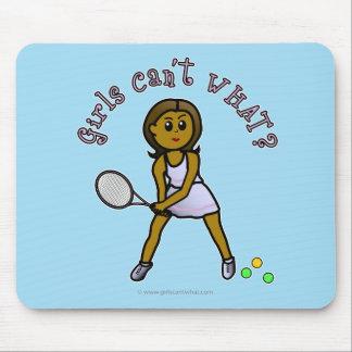Dark Tennis Player Girl Mouse Pad