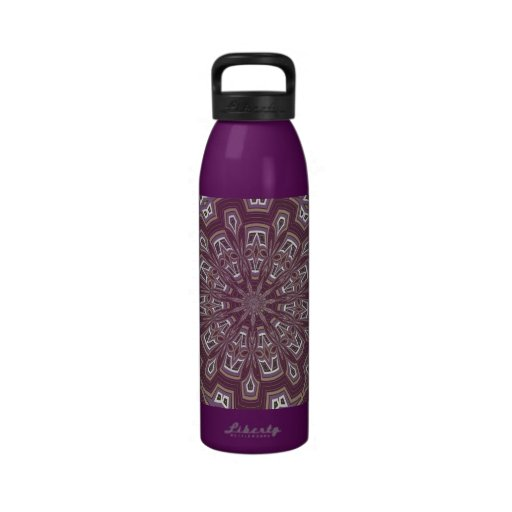 Dark Thistle and White Circle Kaleidoscope Reusable Water Bottle