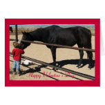 Dark Thoroughbred and Girl - Horse Lover Valentine Greeting Cards