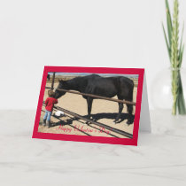 Dark Thoroughbred and Girl - Horse Lover Valentine Holiday Card