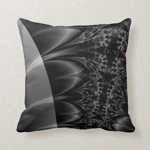 Dark Trace Fractal Throw Pillow