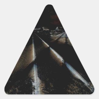 Dark Train Tracks Triangle Sticker
