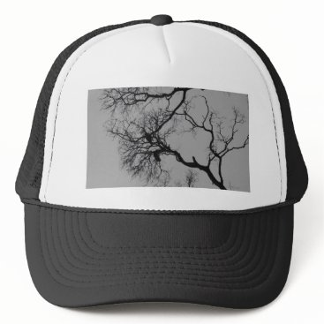 Halloween Themed dark tree branches silhouette trucker hat