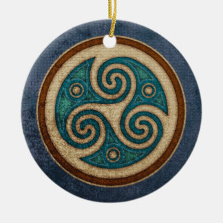 Dark Triskele Pendant/Ornament Double-Sided Ceramic Round Christmas Ornament