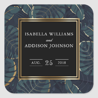Dark Tropical Leaves & Gold Wedding Square Sticker