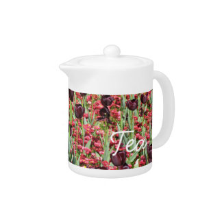 Dark tulips and red flowers teapot