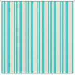 [ Thumbnail: Dark Turquoise and Beige Colored Stripes Fabric ]