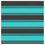 [ Thumbnail: Dark Turquoise and Black Pattern Fabric ]