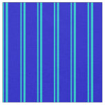 [ Thumbnail: Dark Turquoise and Blue Stripes Pattern Fabric ]