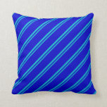 [ Thumbnail: Dark Turquoise and Blue Stripes Pattern Pillow ]