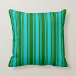 [ Thumbnail: Dark Turquoise and Dark Green Colored Pattern Throw Pillow ]