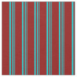 [ Thumbnail: Dark Turquoise and Dark Red Stripes/Lines Pattern Fabric ]