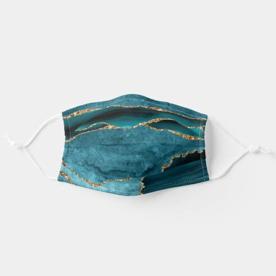 Dark Turquoise and Gold Agate Pattern Adult Cloth Face Mask