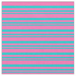 [ Thumbnail: Dark Turquoise and Hot Pink Colored Stripes Fabric ]