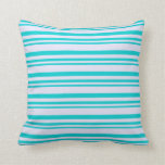 [ Thumbnail: Dark Turquoise and Lavender Lined/Striped Pattern Throw Pillow ]