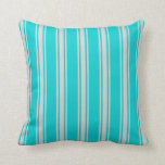 [ Thumbnail: Dark Turquoise and Light Gray Pattern Throw Pillow ]