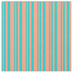 [ Thumbnail: Dark Turquoise and Light Salmon Stripes Fabric ]