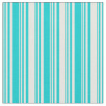 [ Thumbnail: Dark Turquoise and Mint Cream Colored Pattern Fabric ]