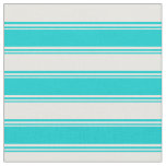 [ Thumbnail: Dark Turquoise and Mint Cream Lines Fabric ]