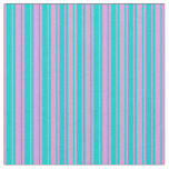 [ Thumbnail: Dark Turquoise and Plum Pattern of Stripes Fabric ]