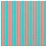 [ Thumbnail: Dark Turquoise and Salmon Colored Stripes Fabric ]