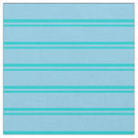 [ Thumbnail: Dark Turquoise and Sky Blue Lined/Striped Pattern Fabric ]