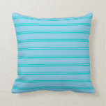 [ Thumbnail: Dark Turquoise and Sky Blue Lined/Striped Pattern Throw Pillow ]
