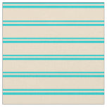 [ Thumbnail: Dark Turquoise and Tan Colored Lines Fabric ]