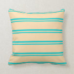 [ Thumbnail: Dark Turquoise and Tan Colored Lines Throw Pillow ]