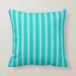 [ Thumbnail: Dark Turquoise and Turquoise Colored Stripes Throw Pillow ]
