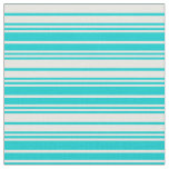 [ Thumbnail: Dark Turquoise and White Colored Lined Pattern Fabric ]