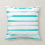[ Thumbnail: Dark Turquoise and White Pattern Throw Pillow ]