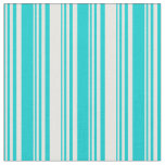 [ Thumbnail: Dark Turquoise and White Stripes Pattern Fabric ]