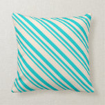 [ Thumbnail: Dark Turquoise & Beige Pattern of Stripes Pillow ]