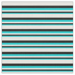 [ Thumbnail: Dark Turquoise, Black, and White Colored Stripes Fabric ]