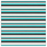 [ Thumbnail: Dark Turquoise, Black, and White Lines Fabric ]