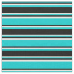 [ Thumbnail: Dark Turquoise, Black, and White Pattern Fabric ]