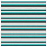 [ Thumbnail: Dark Turquoise, Black, and White Stripes Pattern Fabric ]